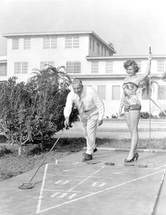 Carolyn Brown and Harry Cassie playing shuffleboard - St. Petersburg, Florida