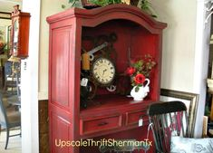 Vibrant Red Armoire refurbished by Upscale Thrift ShermanTx