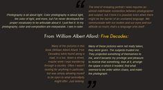 William Albert Allard - Thoughts