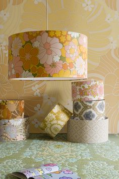Super nice retro lampshades made of retro wallpaper