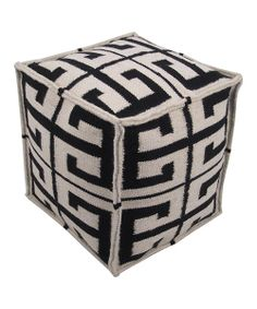 Take a look at the Black Column Wool Pouf on #zulily today!