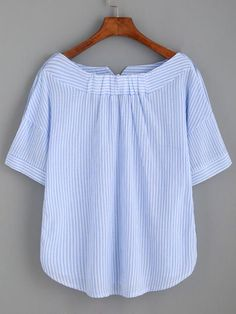 Shop Striped Boat Neck Blouse With Buttons online. SheIn offers Striped Boat Neck Blouse With Buttons & more to fit your fashionable needs. Sewing Clothes, Diy Clothes, Buttons Online, Diy Kleidung, Tee Dress, Blue Stripes, Stripe Top, Blouse Designs, Blouse Patterns