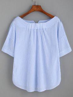 Blusa a rayas escote barco con botones -azul-Spanish SheIn(Sheinside)
