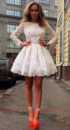New Arrival White Lace Homecoming Dresses,Long Sleeves Graduation Dresses,Short Prom Dresses http://21weddingdresses.storenvy.com/products/15657249-new-arrival-white-lace-homecoming-dresses-long-sleeves-graduation-dresses-sh