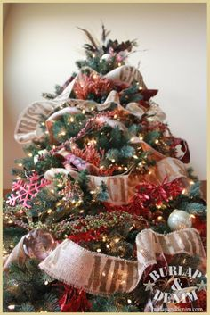 red gold and burlap christmas tree burlap christmas tree red christmas trees christmas - Red Gold And Silver Christmas Decorations