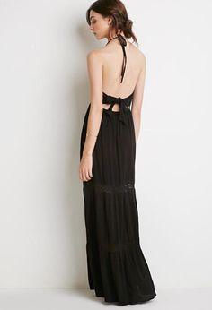 Crocheted Halter Maxi Dress
