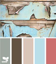 Peeling hues color palette by Design seeds Colour Pallette, Color Palate, Colour Schemes, Color Combos, Color Trends, Design Seeds, Family Room Colors, Bedroom Colors, Family Rooms