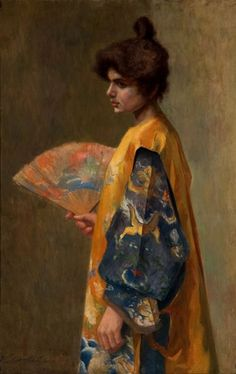 ☂ Paper Lanterns and Parasols ☂ Japonisme Art and Illustration - Violet Oakley | Lady with a Fan