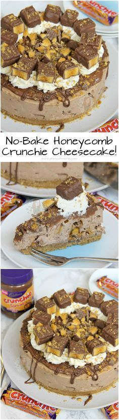 No-Bake Honeycomb Crunchie Cheesecake!! ❤️ A Creamy, Chocolatey, Sweet, and delicious No-Bake Chocolate Cheesecake using Cadbury's Crunchies, Crunchie Spread, and more!