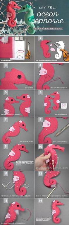 Felt Seahorse Stuffies – lia griffith - Touching and Emotional Image Felt Diy, Felt Crafts, Fabric Crafts, Sewing Crafts, Sewing Projects, Craft Projects, Felt Projects, Clay Crafts, Easter Crafts
