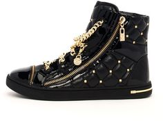 sHoe-Head ALERT: MICHAEL Michael Kors Chain-Lace Quilted High-Top Sneakers…