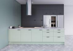 Trend-keittiössä innovatiivisuus ja tyylikkyys kulkevat käsikkäin. Trend-ovia on saatavilla jopa 20 eri värissä. Mahdollisuus yhdistellä eri värisävyjä antaa keittiölle persoonallisen ja modernin ilmeen.