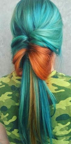 Turquoise green orange dyed hair @theunicorntribe