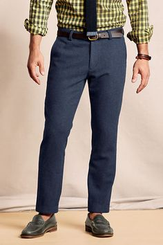 Warm, comfortable & stylish? 100% wool and fully lined, these herringbone pants will take him anywhere for $130.
