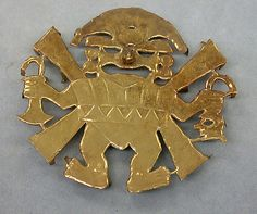 Earflare Frontal  Date:     390–450 Geography:     Peru Culture:     Moche (Loma Negra) Medium:     Gold