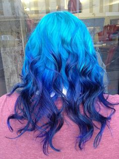 50 Super Cool Blue Ombre - Top Newest Hair Design Weave Hairstyles, Pretty Hairstyles, Hair Color Blue, Hair Colors, Dye My Hair, Blue Ombre, Teal, Mermaid Hair, Rainbow Hair