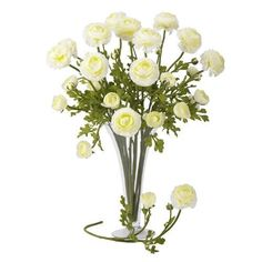 "Nearly Natural 23"" Ranunculus Stem in White (Set of 12)"