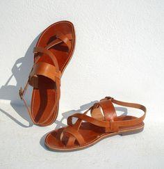 Sandalias de cuero hecho a mano greco romano