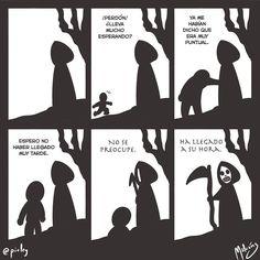 Su hora : #WebcomicZ 014 : #MediBang  #Cintiq  #: #webcomic #comics #comicdiario #dailycomic #illustration #draw #sketch #drawing #art #artistsoninstagram #dibujodiario #cute #adorable #digital #digitalpainting #digitalart : #DailySketch 745 #black #negro #muerte #death #blackandwhite #blancoynegro