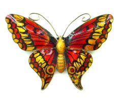 Large JA John Atkins & Sons Enamel on Sterling Silver Butterfly Pin from thatwasthen on Ruby Lane