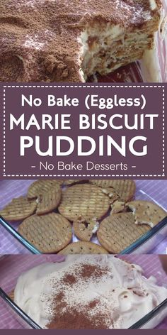 No Bake (Eggless) Marie Biscuit Pudding No Bake Desserts is part of Biscuit pudding - Fridge cakes are great during hot summer days This recipe is eggfree and bakefree Marie Biscuit Pudding, Marie Biscuit Cake, No Bake Biscuit Cake, Biscuit Recipe, No Bake Cake, Eggless Desserts, Pudding Desserts, No Bake Desserts, Easy Desserts