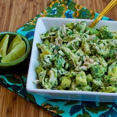 Chicken and Avocado Salad with Lime and Cilantro: chicken, avocados, lime juice, salt to taste, green onion, fresh cilantro, yogurt or mayo