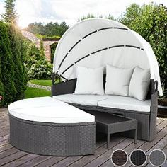 Miadomodo Polyrattan Sun Lounger with Foldable Roof cm) Day Bed Garden Sofa Patio Terrace Furniture - Garden Rattan Furniture Luxury Garden Furniture, Rattan Furniture, Furniture Design, Outdoor Furniture, Outdoor Decor, Rattan Sun Loungers, Garden Power Tools, Outdoor Daybed, Couch