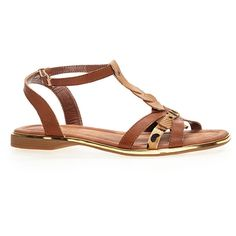 Avenue Leo Mixed Media T-strap Sandal (€22) ❤ liked on Polyvore