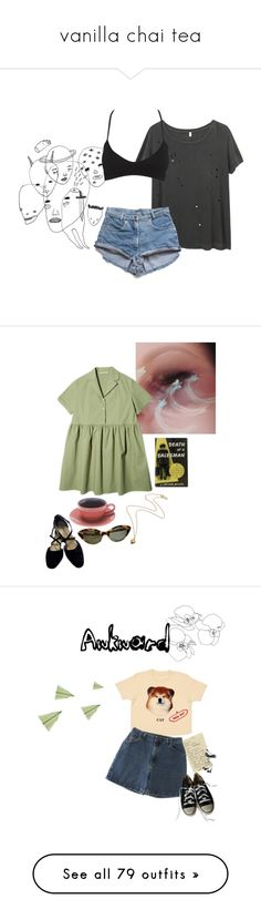 """vanilla chai tea"" by alloverbabe ❤ liked on Polyvore featuring R13, Wet Seal, tops, shirts, t-shirts, tees, filler, Yves Saint Laurent, art and CO"