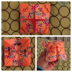 Love these invitations I made for my little sisters party! Who doesn't love cootie catchers?