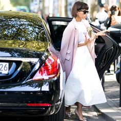Deena Abdulaziz flawless in light pink coat & Manolo Blahnik Hangisi heels - Paris Fashion Week Spring-Summer 2016 #PFW #StreetStyle