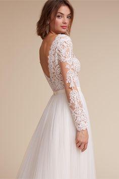 BHLDN Rhea Bodysuit & Amora Skirt in  Bride Wedding Dresses Back Detail | BHLDN