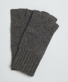 Portolano charcoal cashmere fingerless gloves