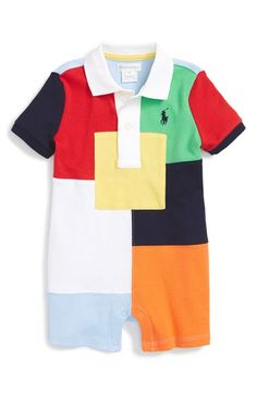 Ralph Lauren 'Patchwork' Polo Romper (Baby Boys) available at #Nordstrom