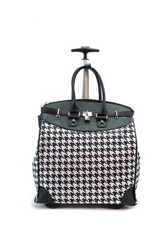 Houndstooth Rolling Travel Tote Foldable Carry-On ** You can find out more details at the link of the image. (This is an Amazon Affiliate link and I receive a commission for the sales)
