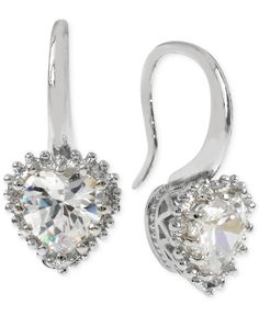 Betsey Johnson Silver-Tone Crystal Heart Drop Earrings - Jewelry & Watches - Macy's