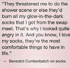 If you've seen the pin about Ben and his socks, this makes that much more sense. How very adorkable :)