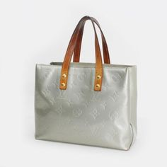 Louis Vuitton Reade PM Monogram Vernis Handle bags Silver Patent Leather M91145