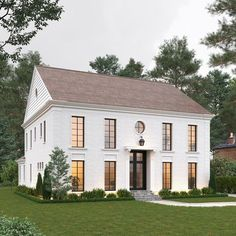 Sometimes a simple, clean box just works. So excited to see what does with this one! Currently under construction in the Eastover area of Charlotte, NC. Colonial House Exteriors, Colonial Exterior, Modern Colonial, Modern Farmhouse Exterior, Exterior Design, Simple House Exterior, Colonial House Plans, Style At Home, White Houses