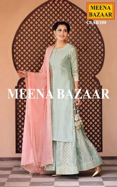 Get a everlasting look with this Pista green chanderi salwar suit. Featuring delicate work on slevees, this attire is perfect for any special occasion. Comes with matching dupatta and sharara bottom.( pajama cut combo, beads on dupatta) Pakistani Dresses, Indian Dresses, Indian Outfits, Indian Attire, Indian Ethnic Wear, Indian Designer Outfits, Indian Couture, Kurta Designs, India Fashion