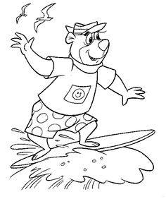 surfboard coloring | Back Print yogi bear surfing Coloring Page