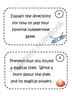 Summer Writing Prompt Task Cards product from Klever-Kiddos on TeachersNotebook.com