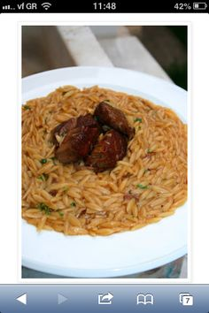 Veal with orzo and petimezi. Orzo, Homemade Food, Greek, Cooking, Ethnic Recipes, Kitchen, Greek Language, Kochen, Brewing