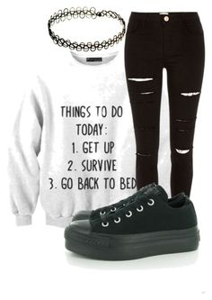 """""""untitled #93"""" by killjoy-sam ❤ liked on Polyvore featuring River Island, Converse and INDIE HAIR"""