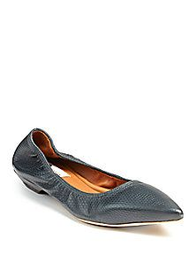 93b4578e3ba108 Lanvin - Lizard-Embossed Leather Point-Toe Flats Walk This Way