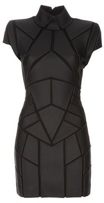 Black leather-look dress from Gareth Pugh featuring panels of geometric shaped leather look fabric, funnel neck, structured shoulders, with a tight fit. Gareth Pugh, Moda Cyberpunk, Cyberpunk Fashion, Cyberpunk Clothes, Fashion Mode, Look Fashion, Womens Fashion, Fashion Design, Fashion Black