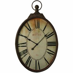 Amazon.com: Large Rustic Industrial Oval Shaped Pocket Watch Style Oversize Hotel Wall Clock: Home & Kitchen