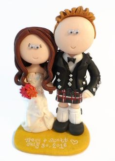 Any outfits/poses are possible, handmade from scratch to look like you! NOT edible, a lifetime keepsake of the big day, I send anywhere in the world. Scottish Wedding Cakes, Indian Wedding Cakes, Unique Wedding Cakes, Handmade Wedding, Unique Weddings, Bride And Groom Cake Toppers, Personalized Wedding Cake Toppers, Wedding Stuff, Wedding Ideas