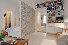 divisao de quarto e sala em apartamento pequeno - cabeceira de cama
