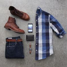 Outfit grid - Blue check shirt and jeans Outfit Grid, Mode Outfits, Casual Outfits, Fashion Outfits, Casual Shirts, Fashion Mode, Mens Fashion, Fashion 2016, Urban Fashion